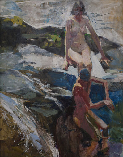 Stan Smith, 'Waterfall with two figures'