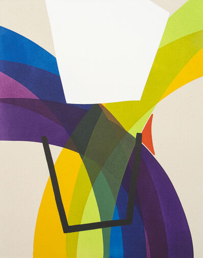 Aron Hill, 'White Shape Into Blue Line No 2 ', 2017