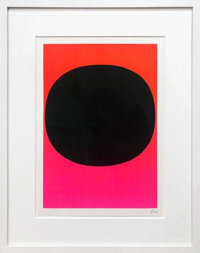 Rupprecht Geiger, 'Variation Runde Farbe I - schwarz auf leuchtrot-pink', 1968