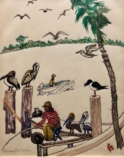 Emil Armin, 'Pelicans and Fisherman Watercolor Painting Chicago WPA Artist ', 1960-1969