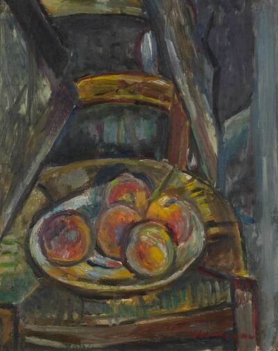 Pinchus Kremegne, 'Still Life with Apples on a Rush Seat Chair'