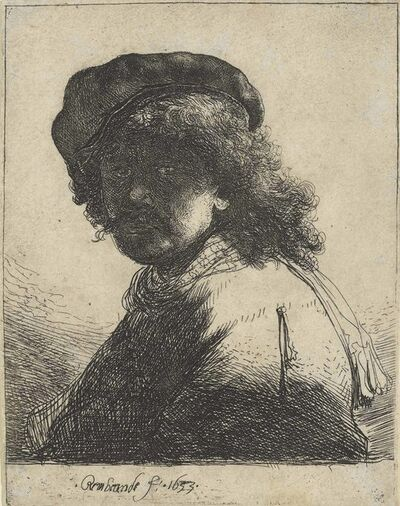 Rembrandt van Rijn, 'Self-Portrait in a Cap and Scarf with the Face dark: Bust', 1633