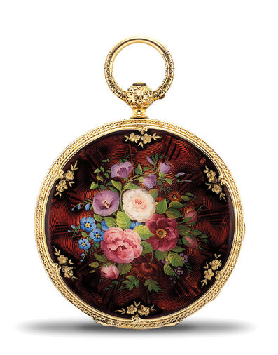 Patek Philippe, 'A very fine and attractive yellow gold and enamel openfaced pocket watch, retailed by H. B. Stanwood & Co., Boston', 1853