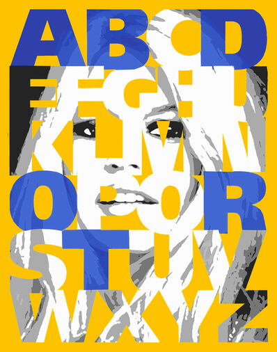 "Ceravolo, '""Alphabet Bardot"" Yellow/Blue, 47x38', 2019"