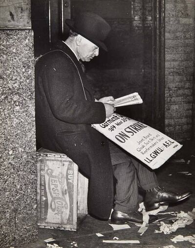Weegee, '[Man on Garment Strike, Resting]', circa 1950