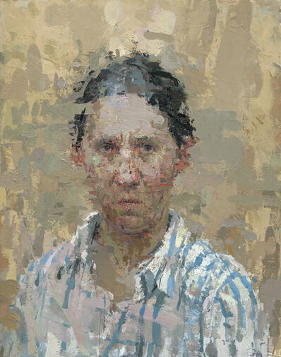 Ann Gale, 'Self Portrait with Blue Stripes', 2008