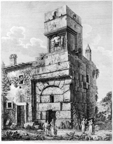 Luigi Rossini, 'Veduta degl'Avanzi del Maestoso Ingresso della Villa d'Adriano tre miglia da Tivoli', 1826
