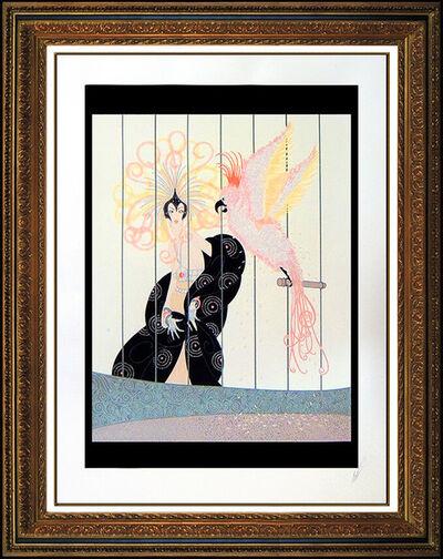 Erté (Romain de Tirtoff), 'ERTE The Bird Cage Color Serigraph Set Design Art Deco Signed Romain Tirtoff SBO', 1981