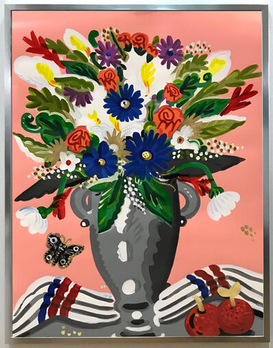 Apostolos Chantzaras, 'Bouquet with Pink Background', 2018
