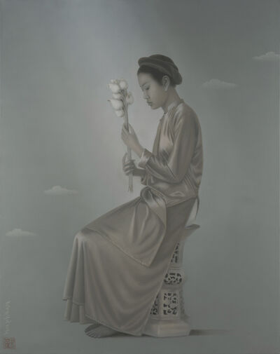 Tran Huy Hoan, ''Woman With Lotus' Grey and Pink Tones, Female Figure, Painting', 2017