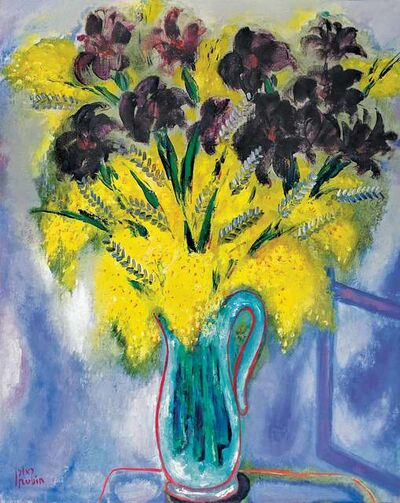 Reuven Rubin, 'Mimosas and black Irises', ca. 1960