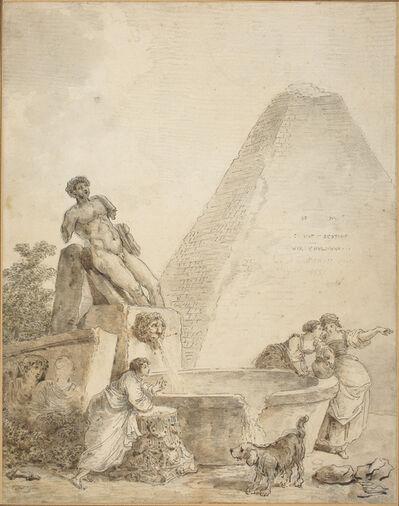 Hubert Robert, 'A Roman Capriccio with the Pyramid of Gaius Cestius'