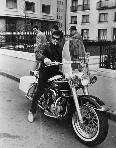 Daniel Angeli, 'Alain Delon in sella ad una Harley-Davidson', 1968