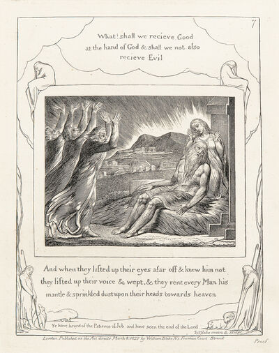 William Blake, 'What! Shall we recieve [sic] Good at the hand of God..., from The Book of Job', 1825