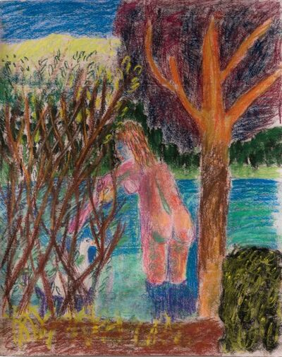 Alexander Nolan, 'Woman Bathing with Swan Behind Bush', 2017