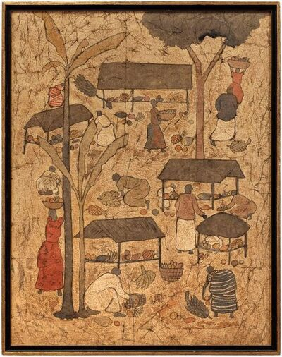 Unknown, 'Asian Market Mixed Media Painting', Mid-20th Century