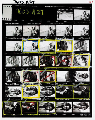 David Burnett, 'Contact Sheet - Bob Marley at home (Tuff Gong) in Kingston, Jamaica', 1976