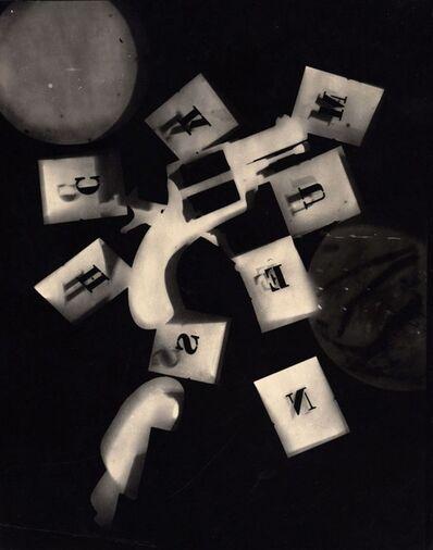 Man Ray, 'Rayograph (gun with alphabet stencils)', 1924