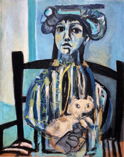 Antoni Clavé, 'Jeune fille au chat', 1946-47