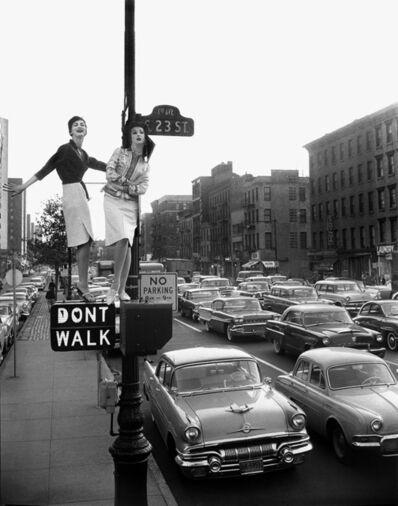William Helburn, 'Lamppost, Carmen Dell'Orefice and Betsy Pickering, Harper's Bazaar Variant, 1st Avenue, New York, NY', 1958