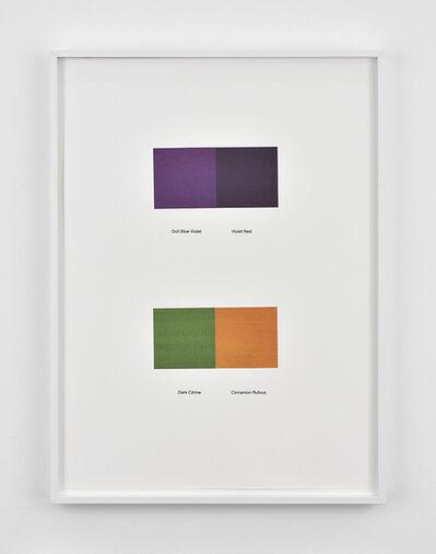Ignasi Aballí, 'Traduction d'un dictionnaire japonais de combinaisons de couleurs - partie 1', 2018