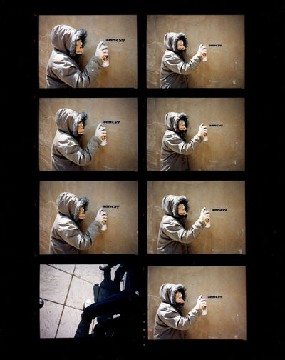James Pfaff, 'Banksy, Monkey Mask Session (Enlarged Contact Sheet), London 2003 (Small)', [2003/2021]