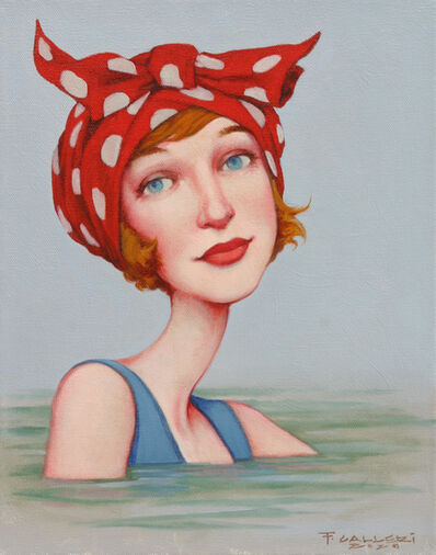"Fred Calleri, '""Dolly Bow"" portrait oil painting of woman with red polka dot scarf on her head', 2020"
