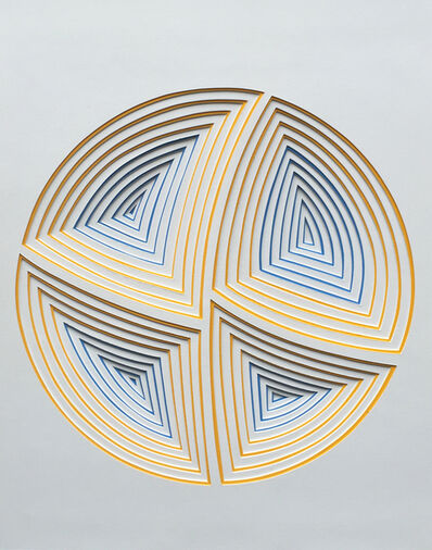 Elizabeth Gregory-Gruen, 'Freehand Cut with Surgial Scalpel: 'Blue & Yellow Circle-In'', 2017