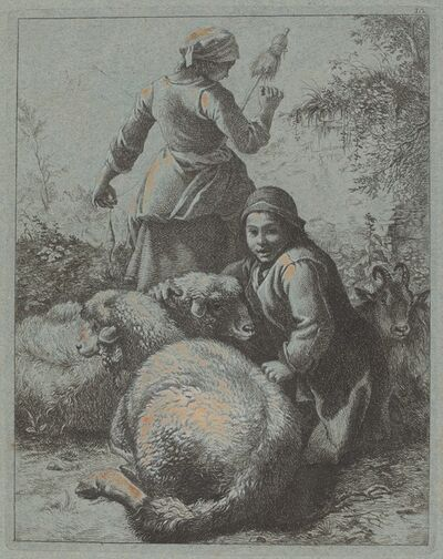 Francesco Londonio, 'Woman Spinner and a Shepherd with Flock', 1758/1759