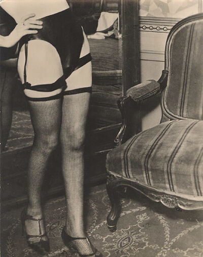 Brassaï, 'Female Model in Net Stocking and Leather Panties', 1932c/1932c