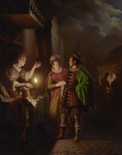 Petrus van Schendel, 'A Gingerbread Seller by Candlelight ', 1838