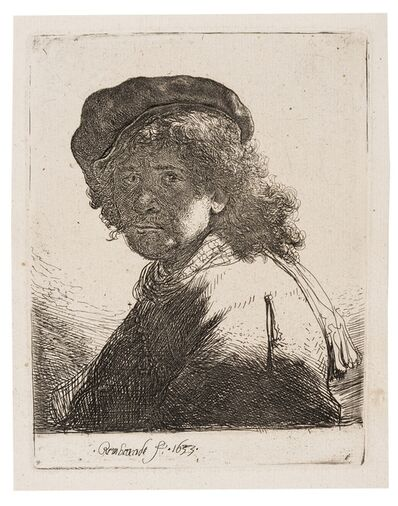 Rembrandt van Rijn, 'Self-Portrait in a Cap and Scarf with the Face Dark', 1633