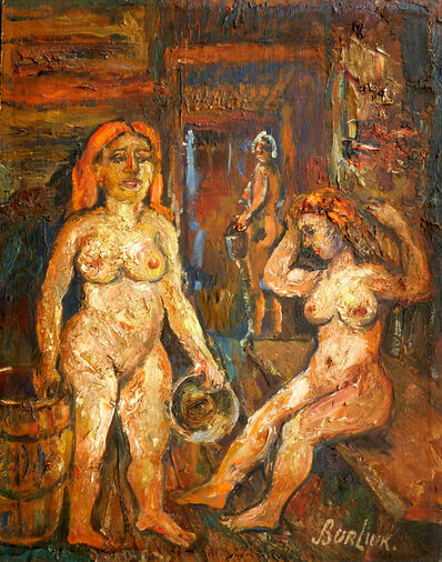 David Burliuk, 'Two Women in the Sauna'