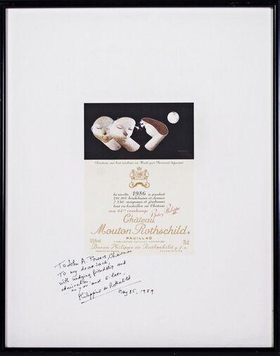 Bernard Séjourné, 'Chateau Mouton Rothschild Wine Label Poster HAND SIGNED & INSCRIBED BY BARONESS PHILIPPINE DE ROTHSCHILD', 1989