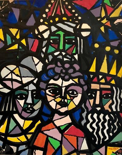 Hans Moller, 'Vintage Silkscreen Print Amahl and the Night Visitors Cubist Figurative Abstract', 1950-1959