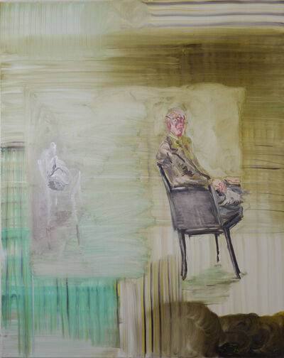 Peter Schmersal, 'Mann, sitzend, Tasche auf Stuhl', 2020