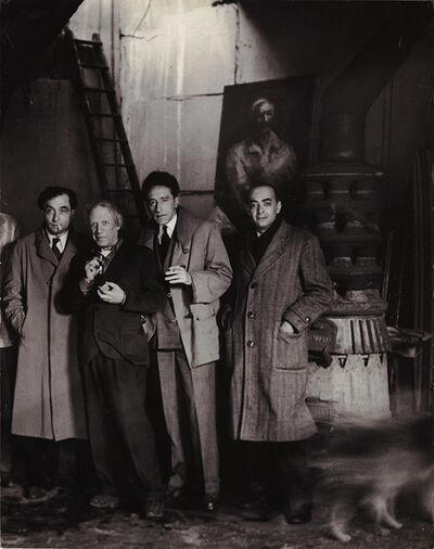 Brassaï, 'Pierre Reverdy, Picasso, Jean Cocteau and Brassaï in Picasso's studio at rue des Grands Augustins, Paris, April 27, 1944', 1944/1960c