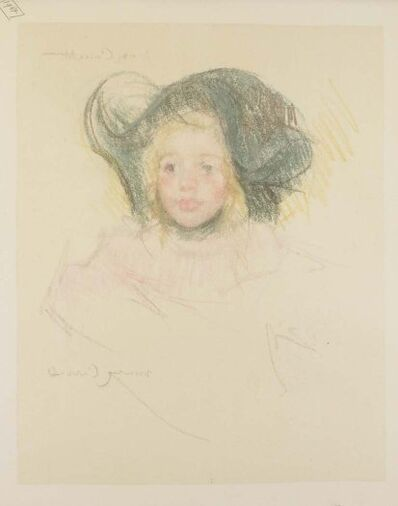 Mary Cassatt, 'Head of Simone in a Green Bonnet with Wavy Brim (No. 2)', ca. 1901