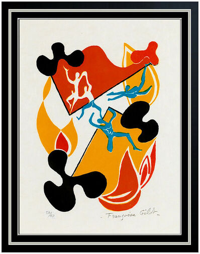 Françoise Gilot, 'Francoise Gilot Sur La Pierre Poems Color Lithograph Hand Signed Abstract Dance', 1972