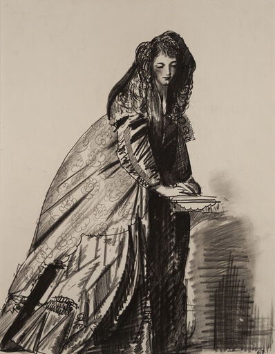George Wesley Bellows, 'Untitled (Young Woman with Hooded Cape)'