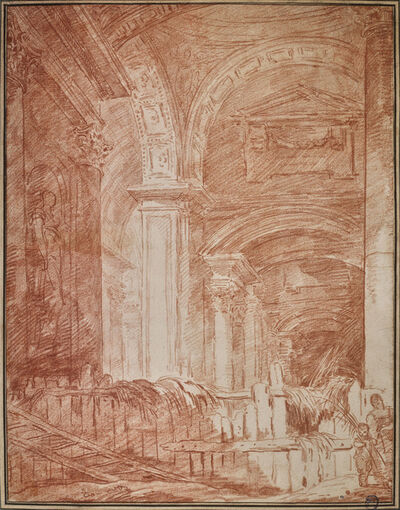 Hubert Robert, 'Eglise transformée en fenil', 18th century