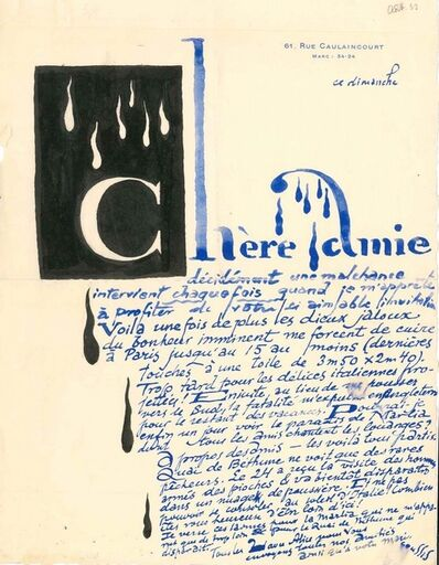 Louis Marcoussis, 'Letter from Louis Marcoussis to Countess Pecci Blunt', 1933