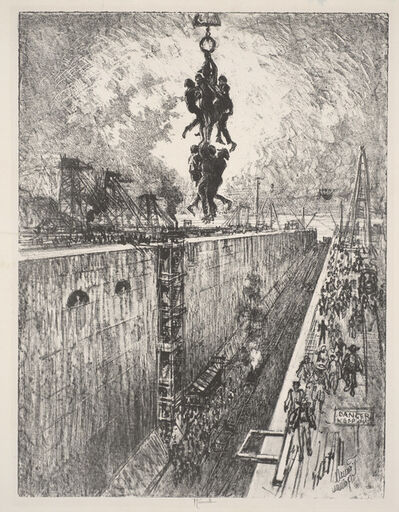 Joseph Pennell, 'The End of the Day, Gatun Lock', 1912