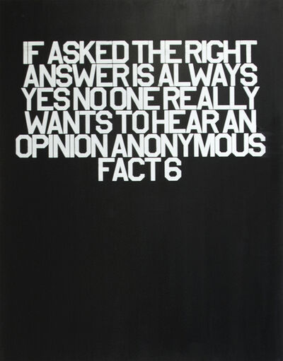 Thomas Stevenson, 'Fact 6 (18 Anonymous Facts)', 2016