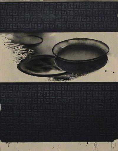 "Madhu Basu, 'Biriany Choudron, Still Life Painting, Acrylic, Pigment, Black, White ""In Stock""', 2018"