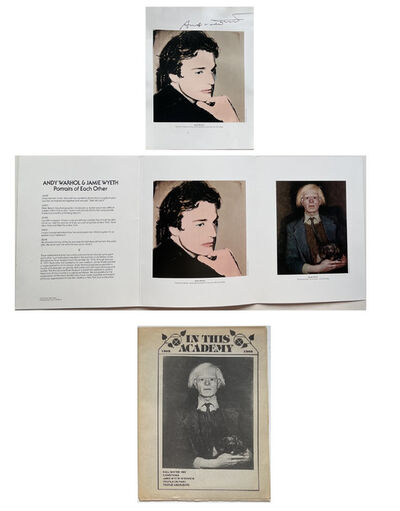 "Andy Warhol, 'THREE PIECE SET- ""Andy Warhol & Jamie Wyeth- Portraits of Each Other"", SIGNED by WARHOL Only, Exhibition Announcement/Invitation Brandywine River Museum Pennsylvania', 1976"