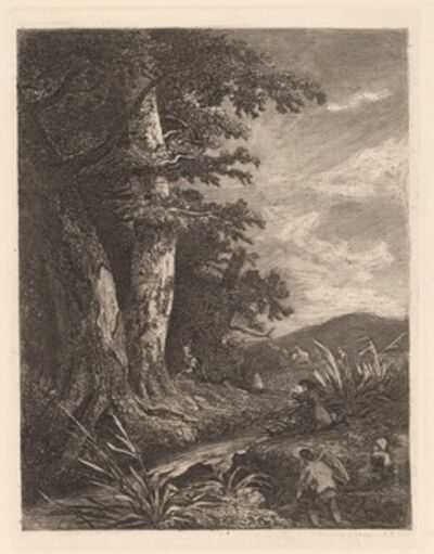 Alexandre Calame, 'Deer by a Stream', 1838