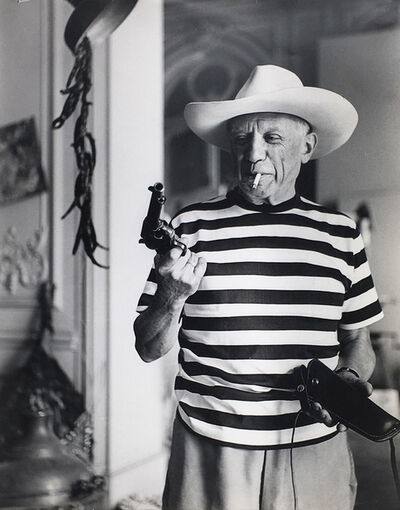 André Villers, 'Picasso with a hat and gun gifted by Gary Cooper', 1959