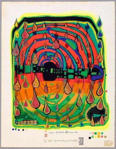 Friedensreich Hundertwasser, 'Sad not so sad is rainshine from rainday on a rainy day', 1970