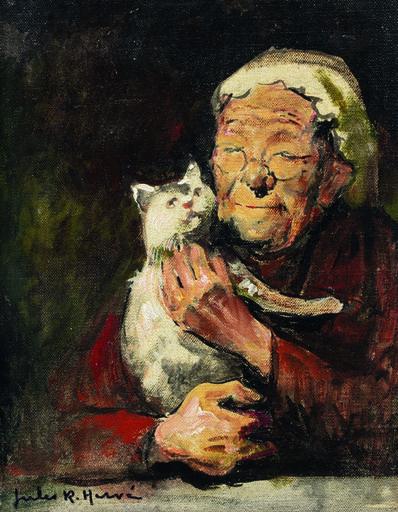 Jules René Hervé, 'Femme au chat'